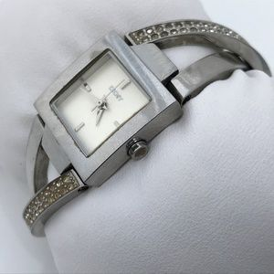 DKNY Ladies Watch Silver Tone Crystal Accents